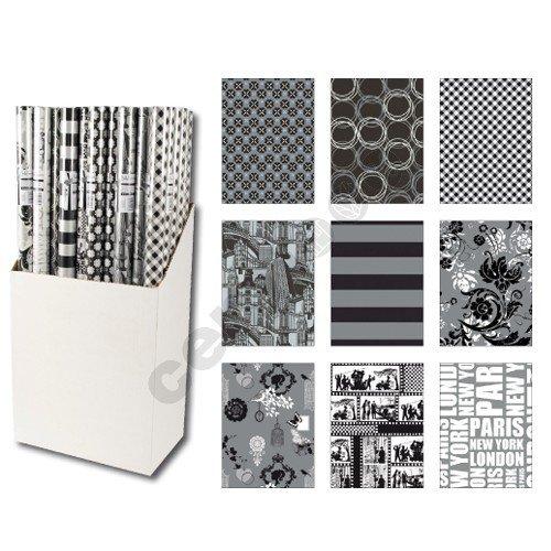 10er rollen set black and white schwarz und wei geschenkpapier 200 x 70 cm verschiedene designs. Black Bedroom Furniture Sets. Home Design Ideas